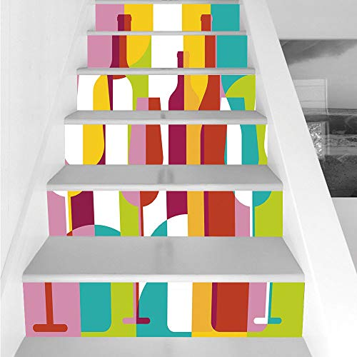 Stair Stickers Wall Stickers,6 PCS Self-adhesive,Wine,Colorful Abstract Wine Bottle Glass Silhouettes Modern Party Drinks Geometric Design Decorative,Multicolor,Stair Riser Decal for Living Room, Hall