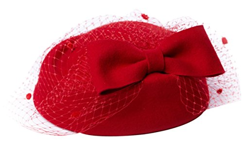 Coxeer® British Women's Fascinator Pillbox Hat Veil for Cocktail Party Wedding (Red)