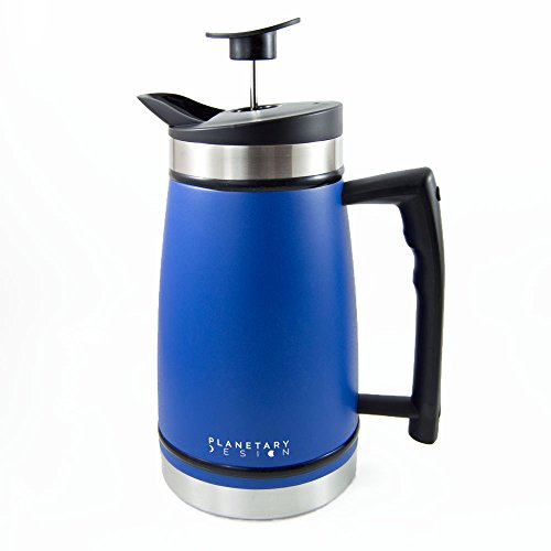 French Press Table Top Coffee and Tea Maker Carafe with Brü-Stop Technology - 48 oz - Stainless Steel with Grip Texture - Mountain Lake Blue