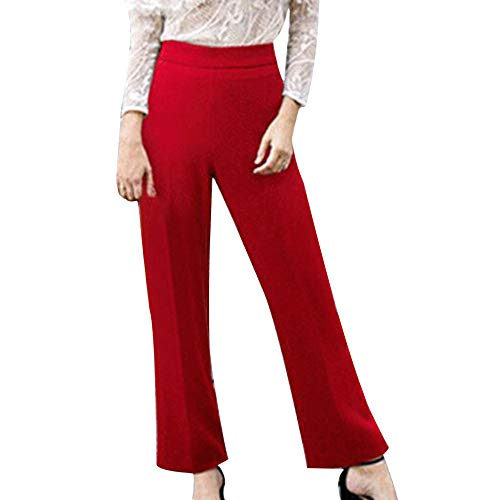 DEATU Ladies Trousers, Womens Solid Mid-Waist Plus Size Loose Straight Fashion Casual Long Pants(Red,XXL)
