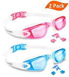 EverSport Swim Goggles, Pack of 2, Swimming Glasses for Adult Men Women Youth Kids Child, Anti-Fog, UV Protection, Shatter-Proof, Watertight (LightBlueΠnk)