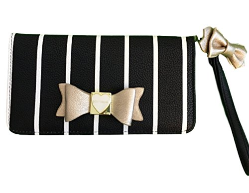 Betsey Johnson stripe wristlet wallet with golden bow