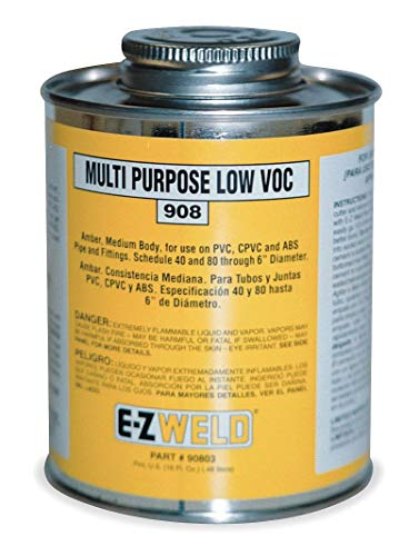 (Ez Weld Cement, Amber, 32 oz, for PVC, CPVC, ABS, Schedule 40 and 80 Pipes and Fittings Up To 6