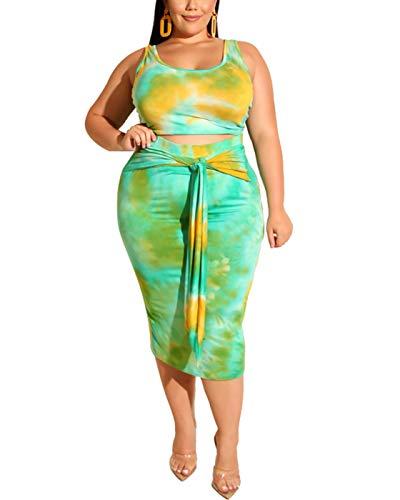 422354d2ae206 Womens Sexy Plus Size 2 Piece Midi Dress Outfits, Sexy Tie Dye Print Tank  Crop Tops Bodycon Tie Pencil Skirts Set (Blue, XXXXL)