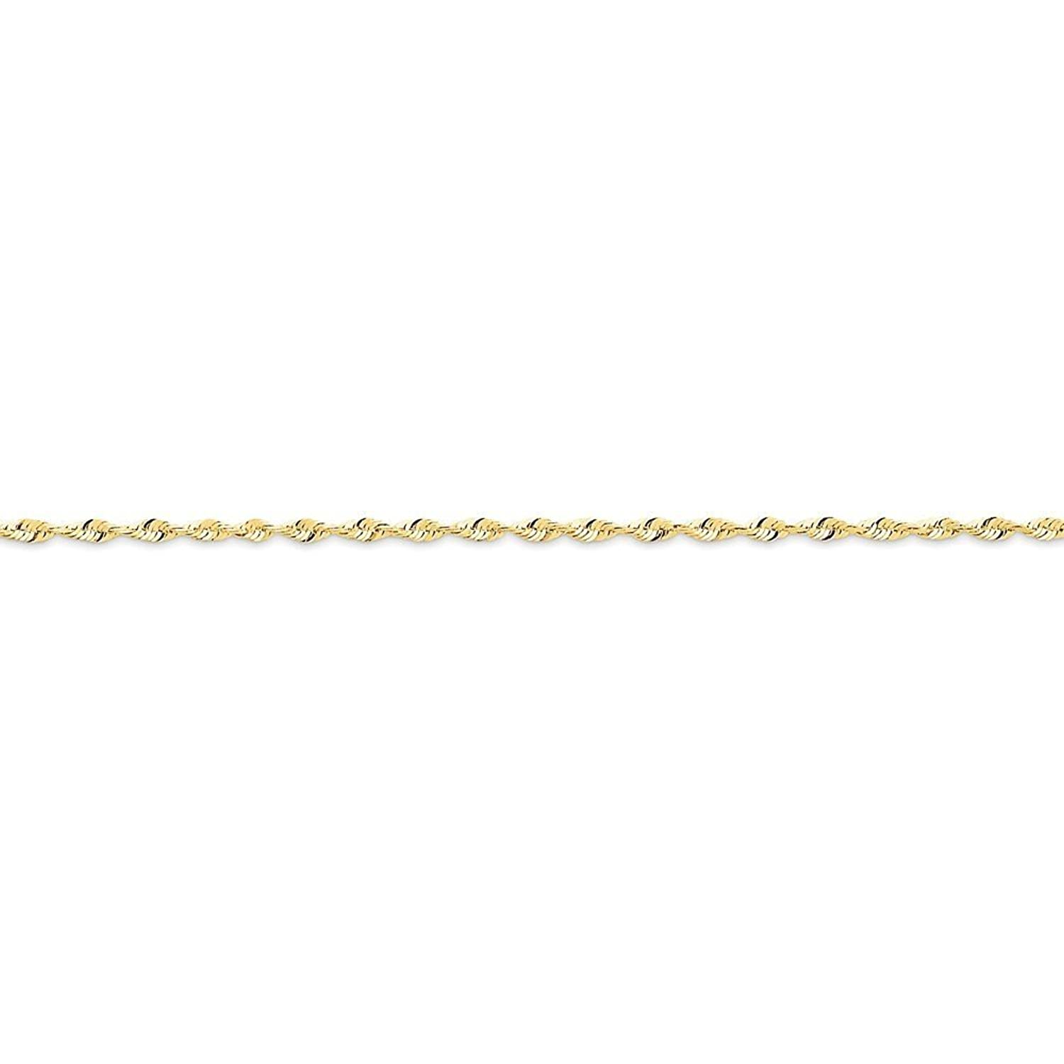 10K Yellow Gold 1.8mm Faceted-Cut Extra-Lite Rope Chain Anklet