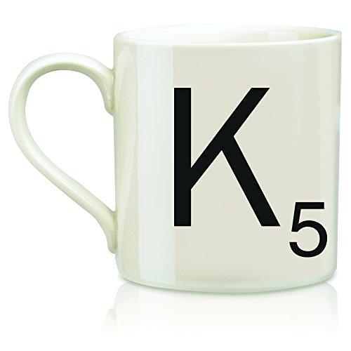 (Scrabble Letter Ceramic K Scrabble Mug, Cream/Black (14 Ounces))