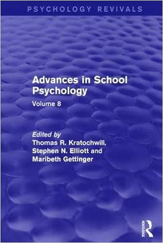 Advances in School Psychology: Volume 8 (Psychology Revivals)