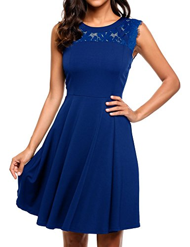 Lace Pleated Dress - ELESOL Women's Elegant Lace A-Line Sleeveless Pleated Cocktail Party Dress Blue L