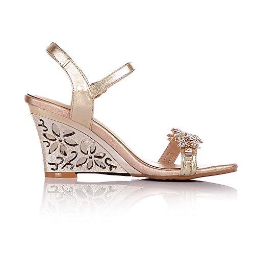 Adee Mujer Brillantes high-heels Oveja Sandalias dorado