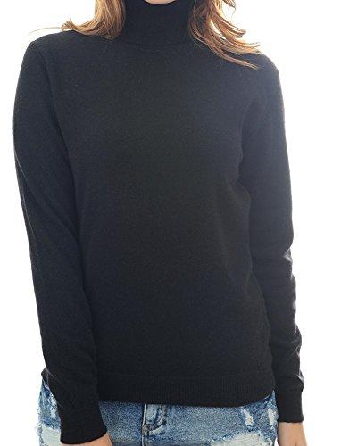 Balldiri 100% Cashmere Kaschmir Damen Pullover Rollkragen mit Bündchen schwarz XL