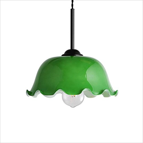 XHJJDJ Kitchen Pendant Light Fixture Industrial Edison Vintage Style 1-Light Pendant Glass Hanging Light (Color : Green) (The Crystal Chandeliers Light Up The Paintings)