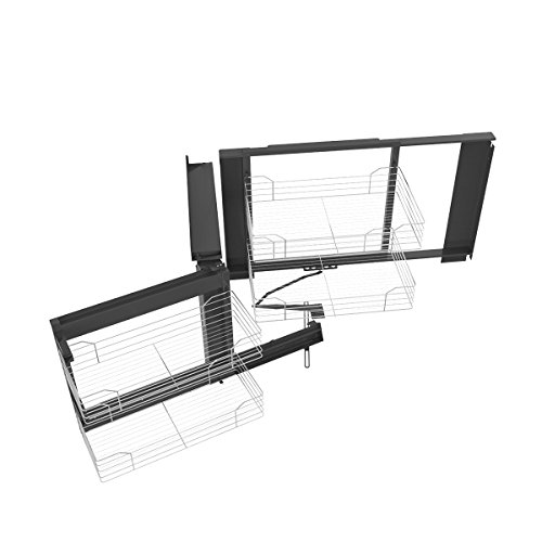 VADANIA Blind Corner Cabinet Pull Out Organizer, 2-Tier Wire Basket Chrome, Soft Close Sliding System, Left Hand ()