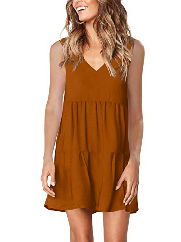 Jeans Summer Dress Brown - Amoretu Women Summer T Shirt Dresses Beach Cover up Plain Pleated Tank Dress Caramel S