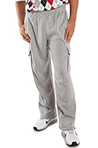Vibes ProActive Men's Heavy Fleece Cargo Pants Relax Fit Open Bottom Drawstring