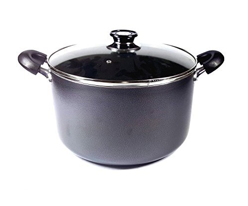 - Uniware Non-Stick Aluminum Stock Pot With Glass Lid, Black, 40 quart