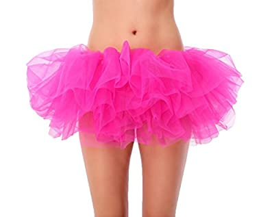 Mystylees Women's Vintage 6 Layered Tutu Fluffy Skirt