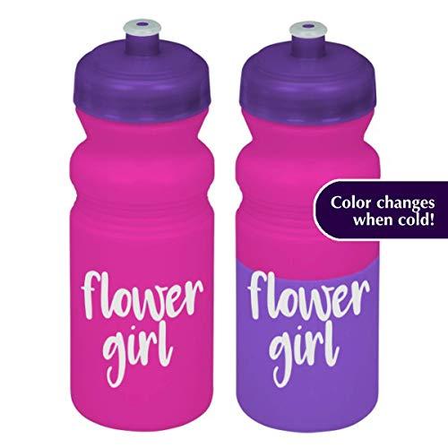 (Flower girl water bottle pink/purple 20 oz with lid)