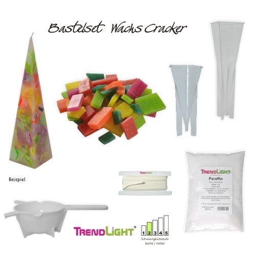 TrendLight ® - Set per creare candele, 1 kg di cera, 350 g cera a scaglie, 2 stampini, stoppino, 1 colino 861190