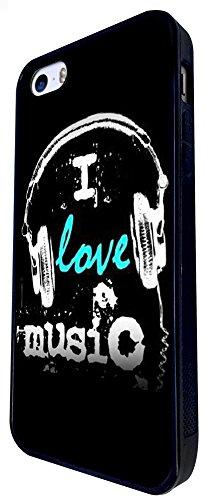 1460 - Cool Fun Trendy I Love Music Headphones Rnb Dance Jazz Rave Design iphone SE - 2016 Coque Fashion Trend Case Coque Protection Cover plastique et métal - Noir