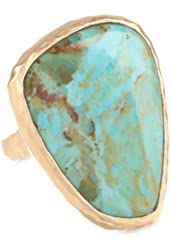 "Barse ""Basics"" Genuine Turquoise Hammered Bronze Ring"