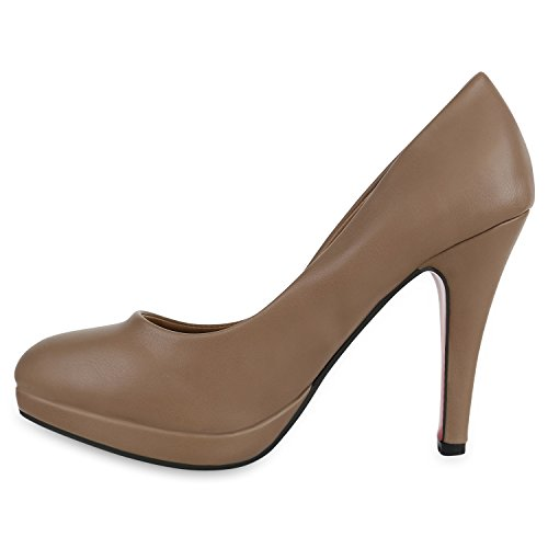 Stiefelparadies Damen Lack Pumps Stiletto High Heels Metallic Schuhe Party Abendschuhe Plateau Plateau Pumps Flandell Khaki Glatt Bernice