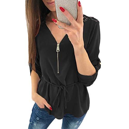 Tee Casual Dentelle Vrac Femmes Shirt Innerternet en Blouse V Zipper Top T Noir Neck Femmes Chemisier Shirt Tops IUfSqZExw