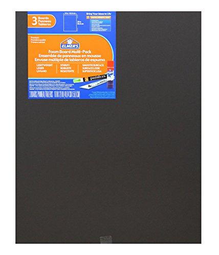 Elmer's Foam Boards, 16 x 20 Inches, Black/Black Core, 3-Count (950025)