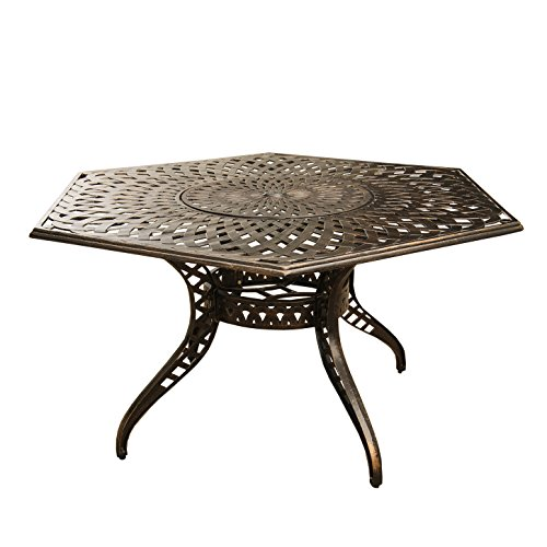 (Oakland Living AZ1822-HEX-63-MESH-TABLE-LAZY-BZ Outdoor Aluminum 63 inch Hexagon Table, Bronze)
