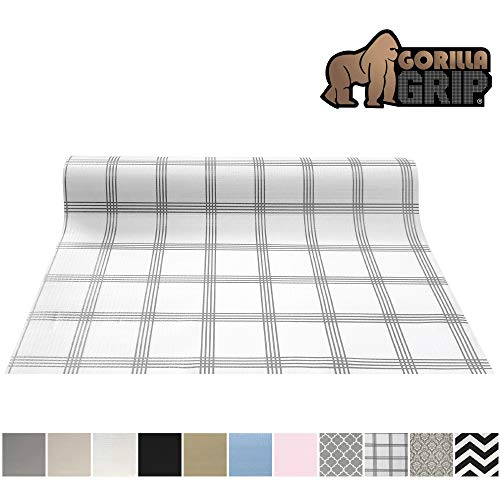 Gorilla Grip Original Smooth Top Slip-Resistant Drawer and Shelf Liner, Non Adhesive Roll, 17.5 Inch x 20 FT, Durable Kitchen Cabinet Shelves Liners for Kitchens Drawers and Desks, Stripe Gray White (Drawer Liner Paper For Dresser)