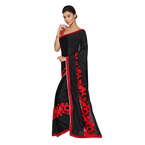 Viva-N-Diva-Black-Crepe-Jacquard-And-Net-Saree-With-Unstitched-Blouse-Piece