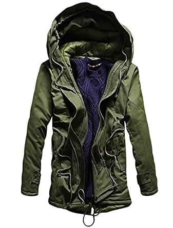 Hajotrawa Men's Hooded Solid Color Outside Fleece Mid-Long