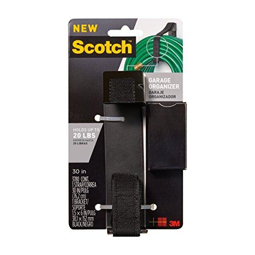 Scotch RF3780 Garage Organizer Bundling Strap with 1.5-Inch x 6-Inch Bracket, Black