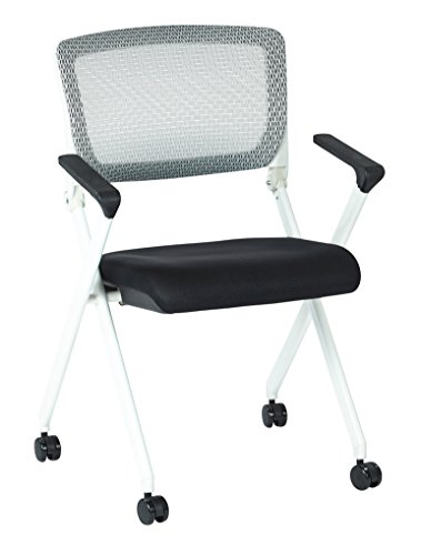 SPACE Seating Folding Chair with Screen Back and Black Fabric Mesh Seat in White Finish Frame