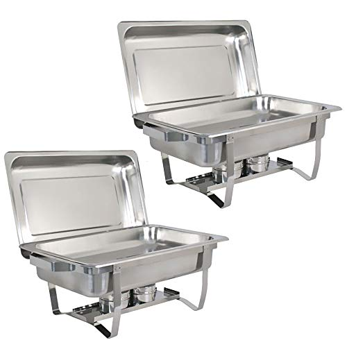 TG888 Professional Stainless Steel Chafing Dish Full Size Buffet Catering Tray 8QT Restaurant Party Food Service Set of 2 Pack from TG888Warehouse