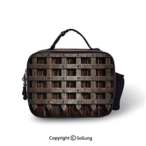 Medieval Insulated Lunch Bag Medieval Wooden Castle Wall and Metal Gate Greek Style Mid Century Design Art Print Printed lunch bag for boys and girls,10.6x8.3x3.5 inch,Grey (Gate Wicker)