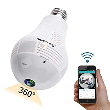 Sheenwang Security Light Bulb Camera, WiFi Home Security Camera Light Bulb,  Wireless Panoramic Lamp Camera with APP Control for Android (AnySee) and