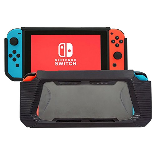 Protective Case for Nintendo Switch, Black Soft TPU Cover Shock-Absorption Bumper Cover for Nintendo Switch 2017, Anti-Scratch Clear Back with a Glass Screen Protector by ZQQ