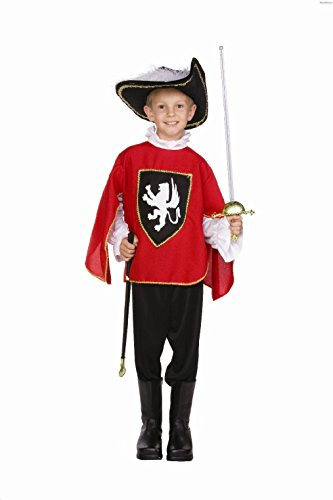 OvedcRay Child Three Musketeer Costume Renaissance Boy Costumes Blue Black Red -