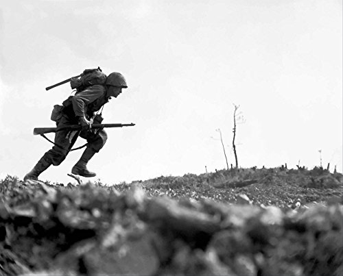 Posterazzi Digitally Restored Vector Photo of a Marine Making The Dash Across no Man's Land During The Battle of Okinawa Poster Print, (31 x 25)