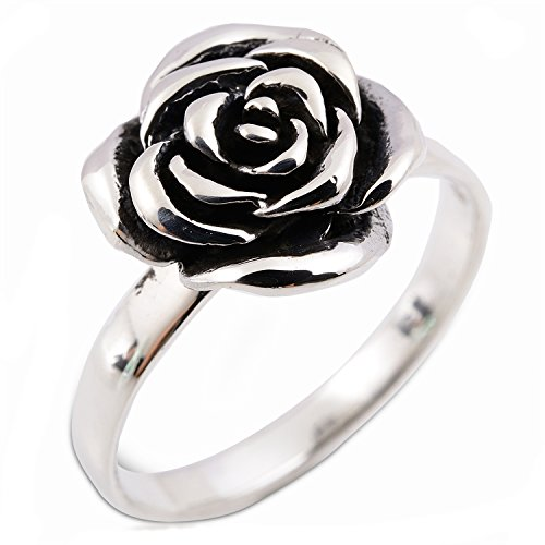 Lovely Thai Design Flower Rose Ring 925 Sterling Silver (Thai Sterling Silver Flower)
