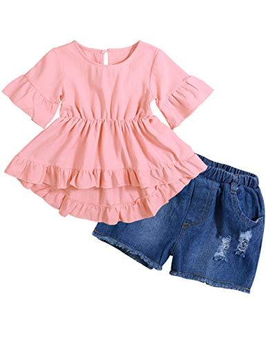 Lankey Girl Clothes Little Kids Short Sets Cotton Casual Coat Jeans 2 Pcs Pants Sets (Pink, 2-3T) ()