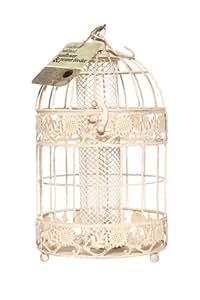 Chapelwood - Jaula con alimento para pájaros, imitación de diseño antiguo, color crema
