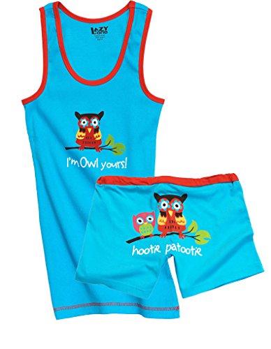 Lazy One WB160/TT160 Women's Owl Yours Blue and Red Cotton Pajama Pyjama Set