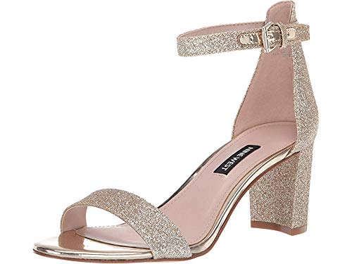 Nine West Women's Pruce Block Heeled Sandal Gold Glitter 8.5 M US