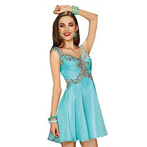 Alyce Paris V-Neck Chiffon Cocktail Dress Aqua – 4