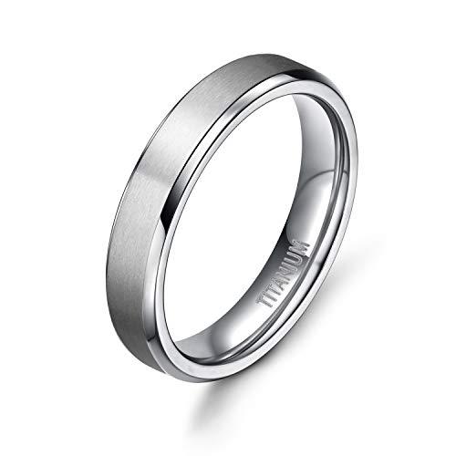 TIGRADE Unisex 4MM Titanium Brushed Finish Beveled Edge Classy Rings Wedding Band Size 4-15(6.5) ()