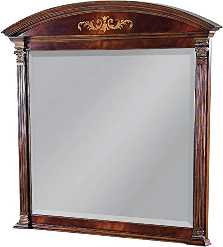 Scarborough House Mirror 46x43 Arched Crotch Mahogany Marquetry Inlay Brass ()