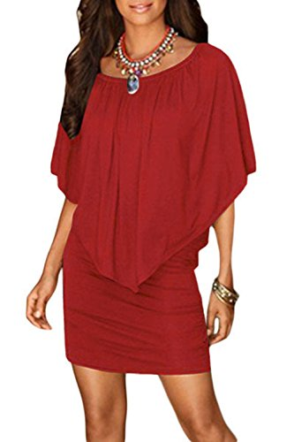 Ruffles Red Shoulder Mini Women Dress Amborido Off Bodycon Ezt0w0
