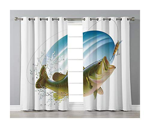 Goods247 Blackout Curtains,Grommets Panels Printed Curtains Living Room (Set of 2 Panels,52 72 Inch Length),Fishing - 98 Inch Teal Curtains