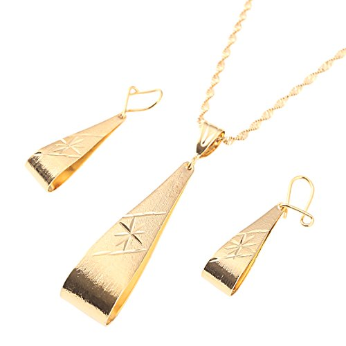Ethiopian Set Necklace Pendant Earring Set Joias Ouro 22k Gold Plated Jewelry African Bridal Wedding ()